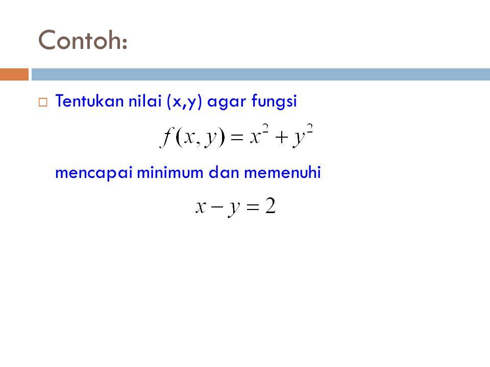 Contoh: Tentukan nilai (x,y) agar fungsi mencapai minimum dan memenuhi