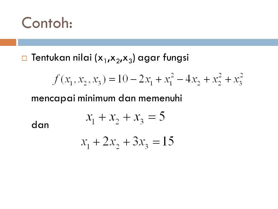 Contoh: Tentukan nilai (x1,x2,x3) agar fungsi mencapai minimum dan memenuhi dan