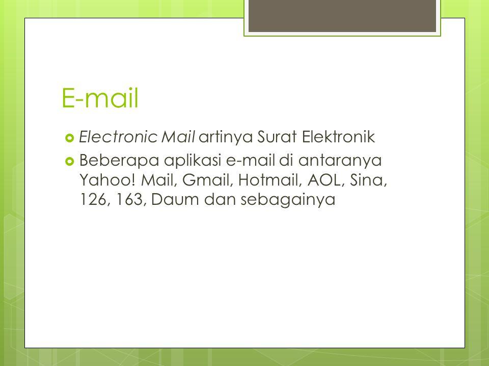 E-mail Electronic Mail artinya Surat Elektronik