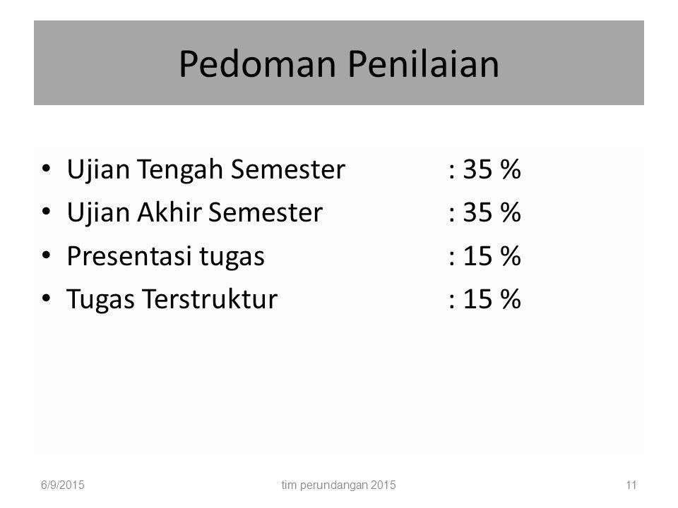 Pedoman Penilaian Ujian Tengah Semester : 35 %