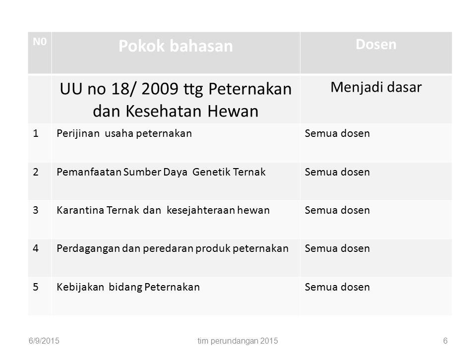UU no 18/ 2009 ttg Peternakan dan Kesehatan Hewan