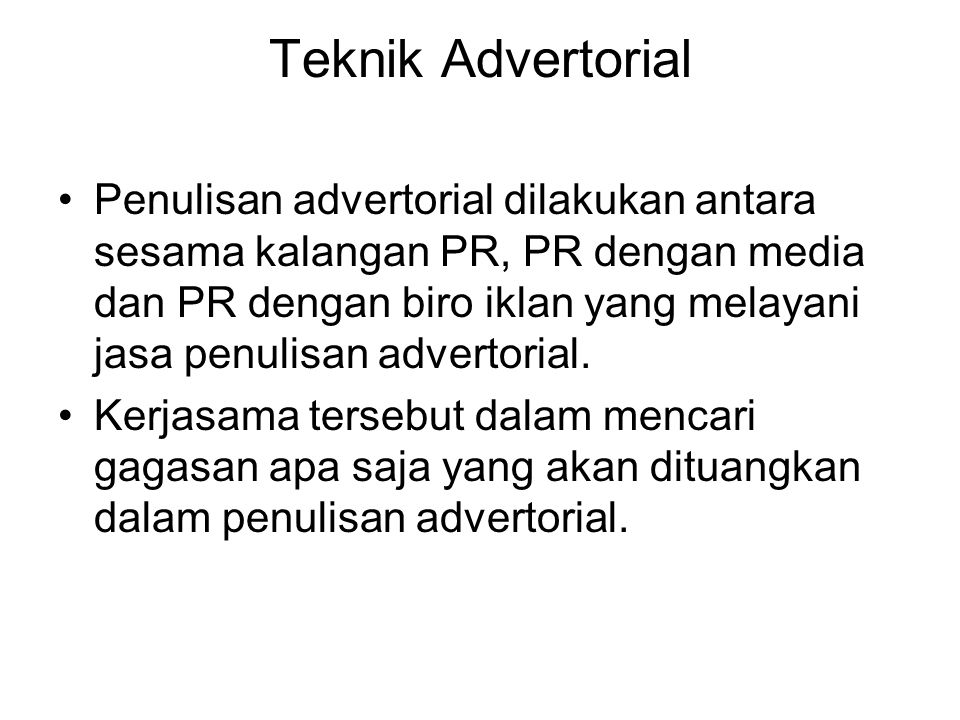 Teknik Advertorial