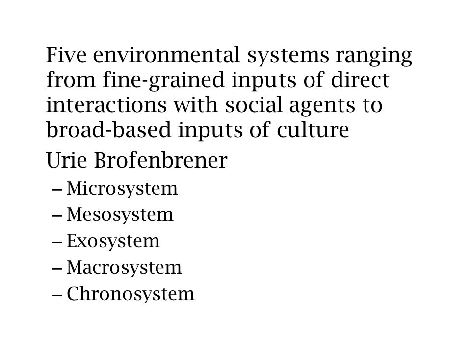 Five environmental systems ranging from fine-grained inputs of direct interactions with social agents to broad-based inputs of culture