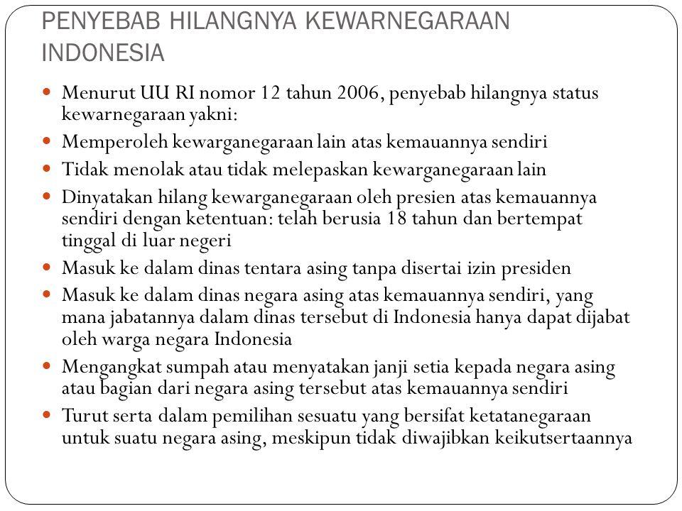 PENYEBAB HILANGNYA KEWARNEGARAAN INDONESIA