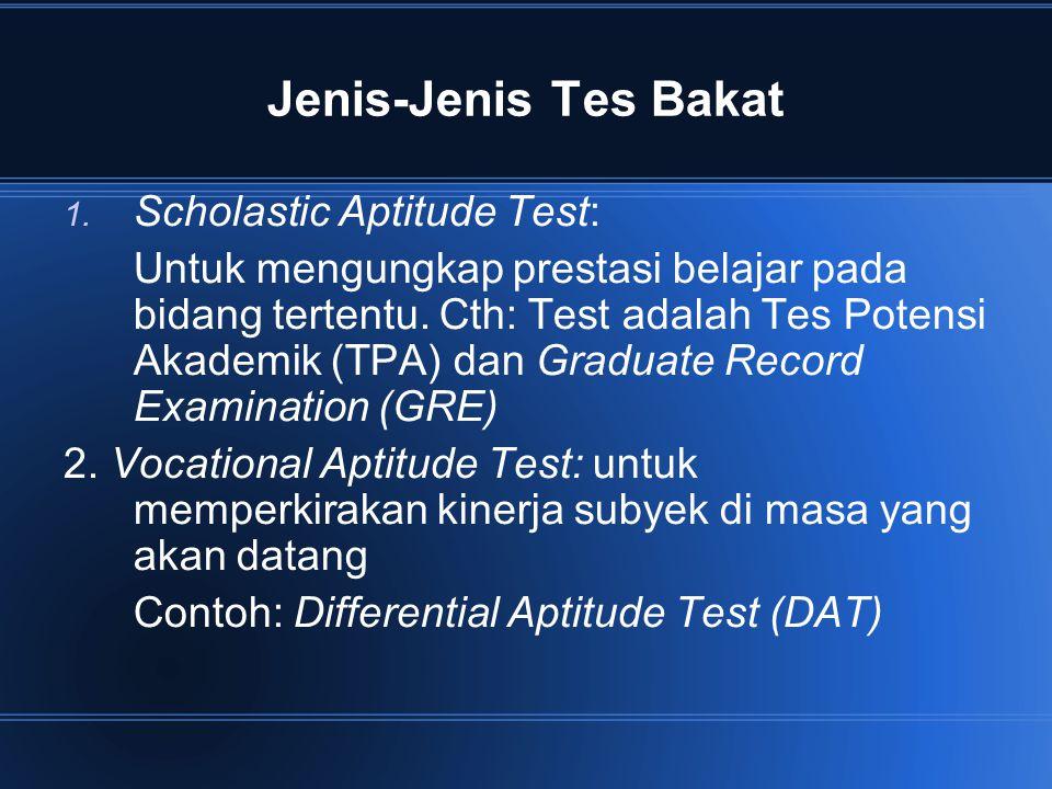 Jenis-Jenis Tes Bakat Scholastic Aptitude Test: