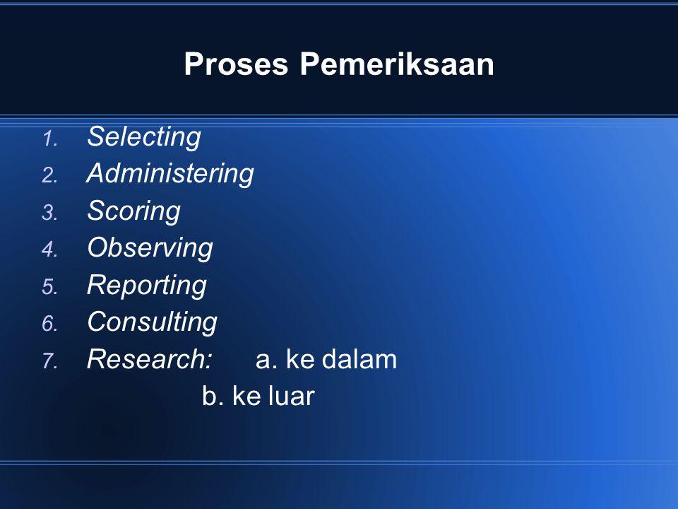 Proses Pemeriksaan Selecting Administering Scoring Observing Reporting