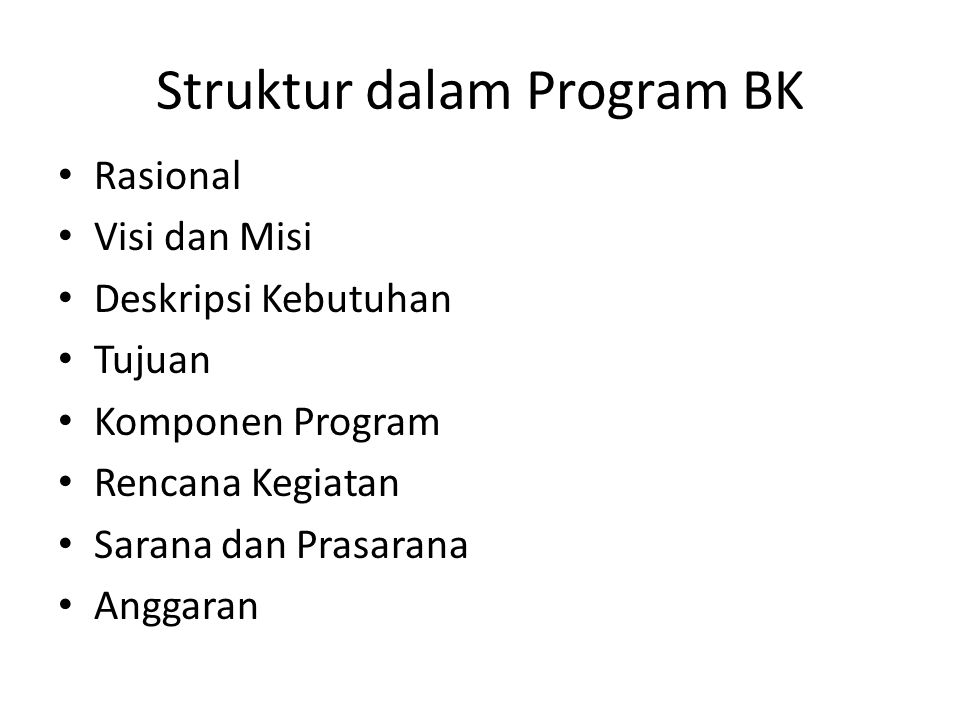 Struktur dalam Program BK