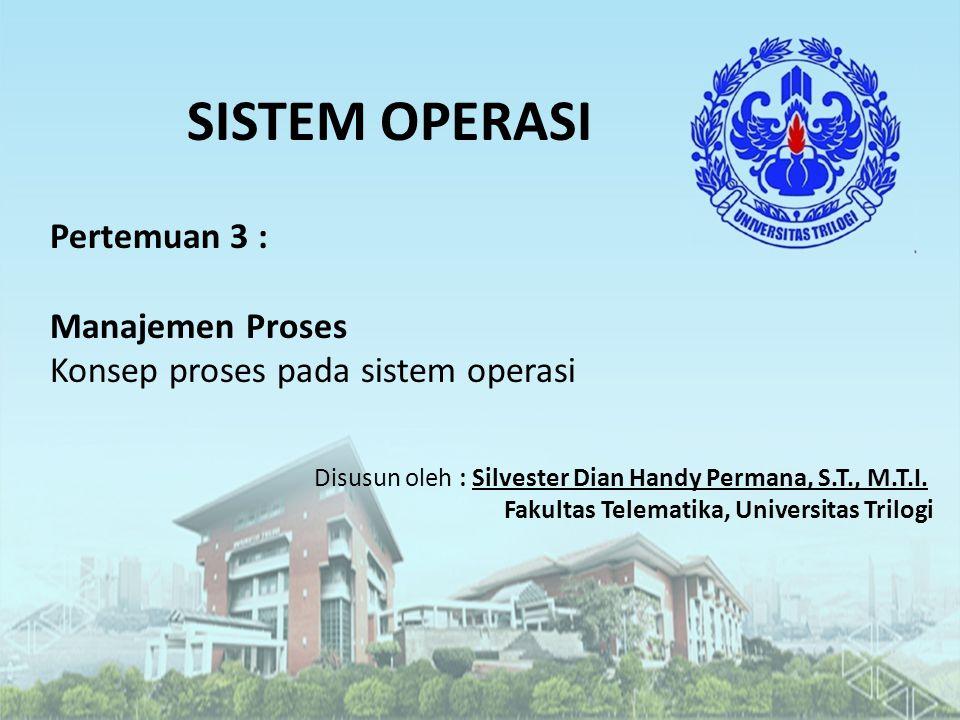 SISTEM OPERASI Pertemuan 3 : Manajemen Proses