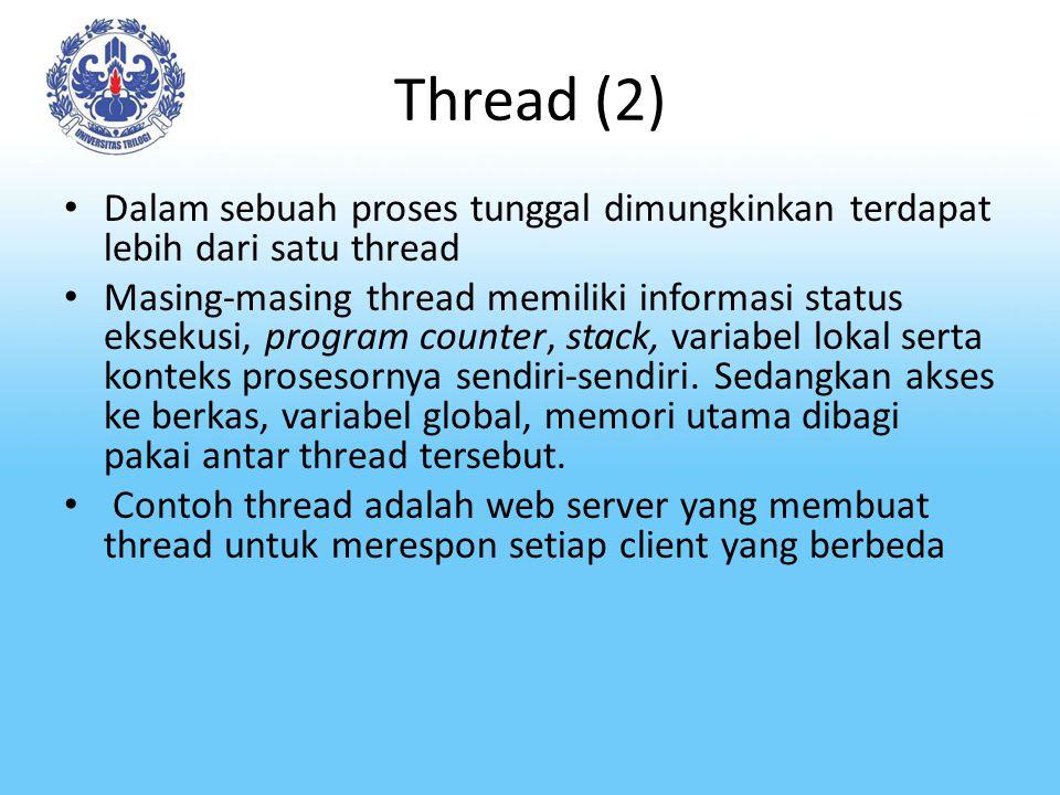 Thread (2) Dalam sebuah proses tunggal dimungkinkan terdapat lebih dari satu thread.