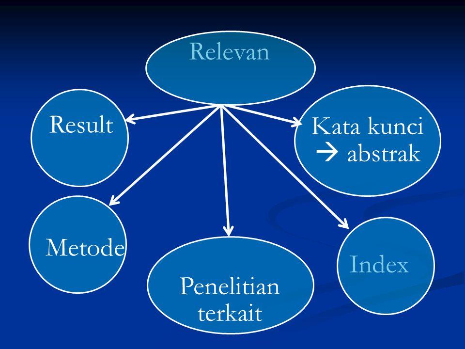 Relevan Kata kunci  abstrak Index Penelitian terkait Metode Result