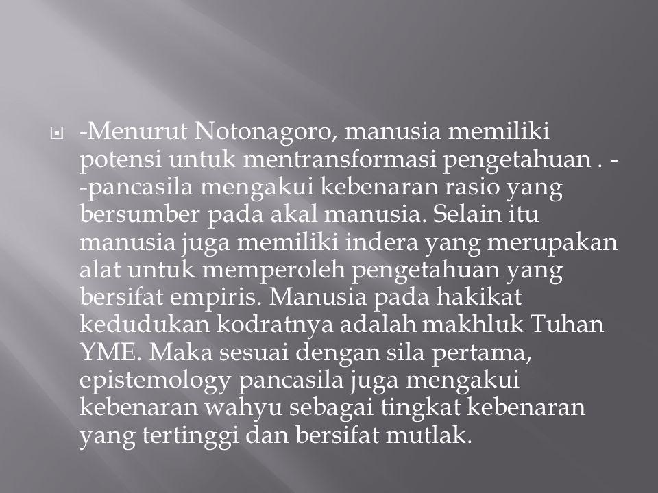 -Menurut Notonagoro, manusia memiliki potensi untuk mentransformasi pengetahuan .