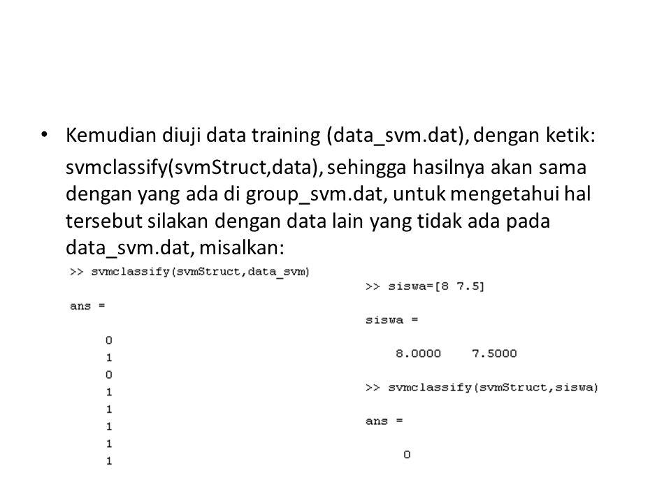 Kemudian diuji data training (data_svm.dat), dengan ketik: