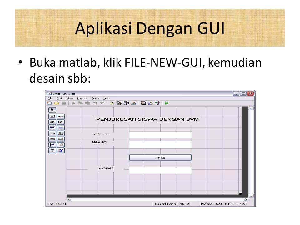 Aplikasi Dengan GUI Buka matlab, klik FILE-NEW-GUI, kemudian desain sbb: