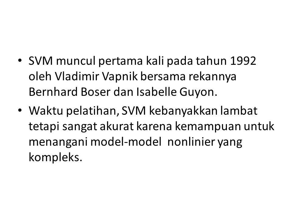 SVM muncul pertama kali pada tahun 1992 oleh Vladimir Vapnik bersama rekannya Bernhard Boser dan Isabelle Guyon.