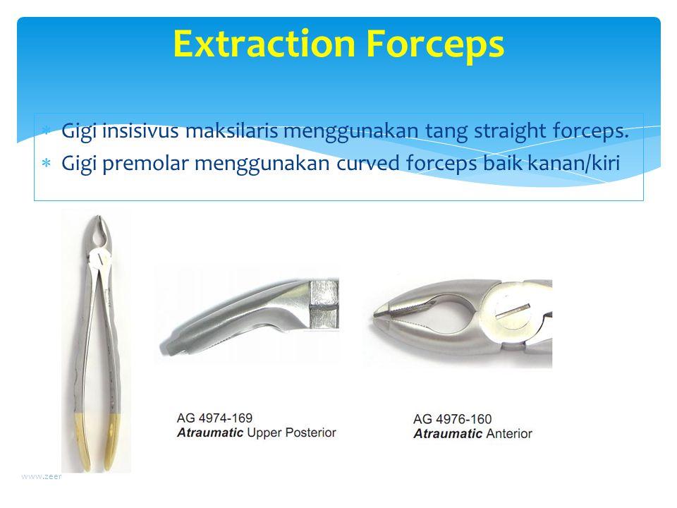 Extraction Forceps Gigi insisivus maksilaris menggunakan tang straight forceps. Gigi premolar menggunakan curved forceps baik kanan/kiri.