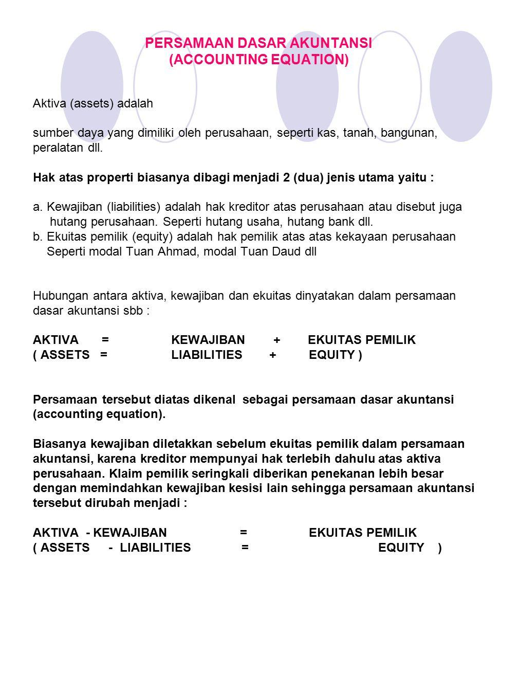 PERSAMAAN DASAR AKUNTANSI (ACCOUNTING EQUATION)