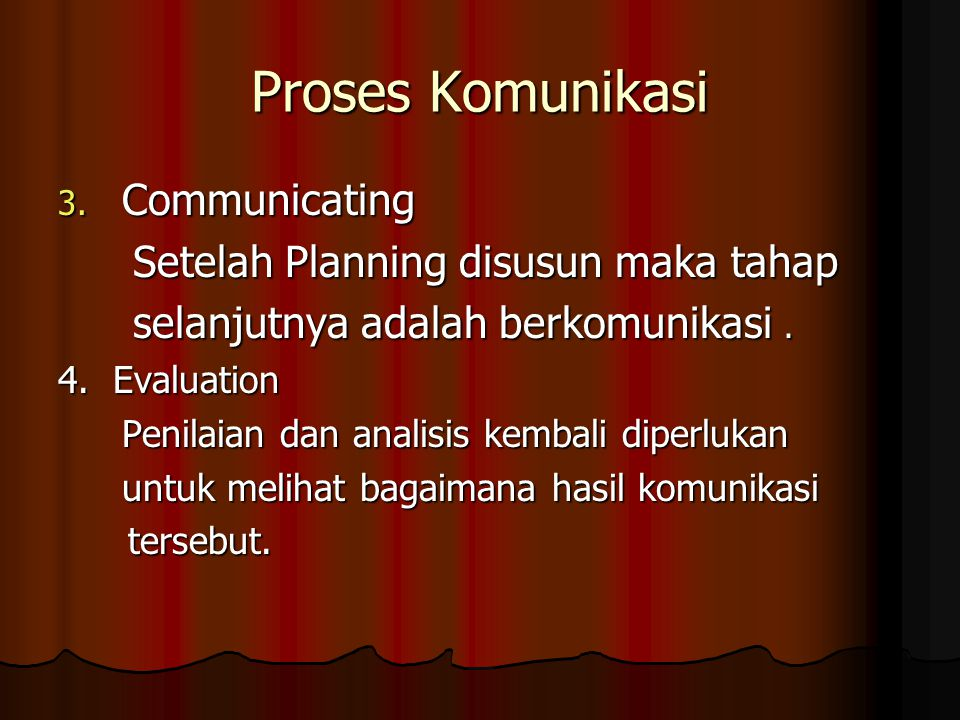 Proses Komunikasi Communicating Setelah Planning disusun maka tahap