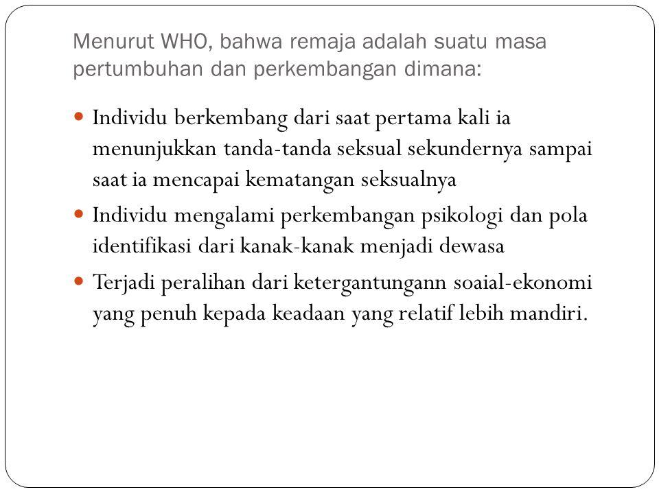 Menurut WHO, bahwa remaja adalah suatu masa pertumbuhan dan perkembangan dimana: