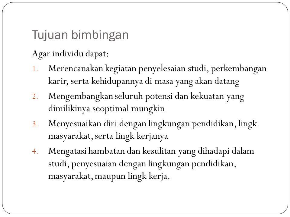 Tujuan bimbingan Agar individu dapat:
