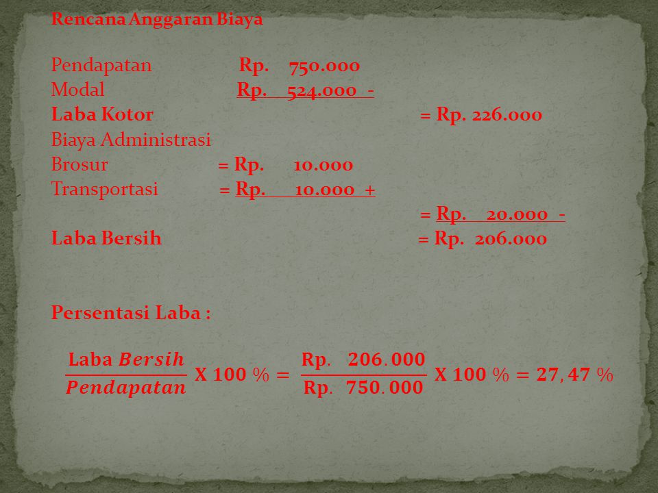 Pendapatan Rp. 750.000 Modal Rp. 524.000 - Laba Kotor = Rp. 226.000