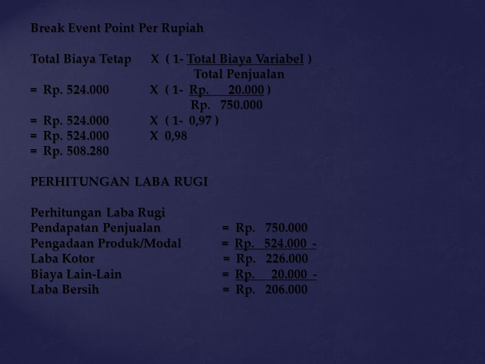 Break Event Point Per Rupiah
