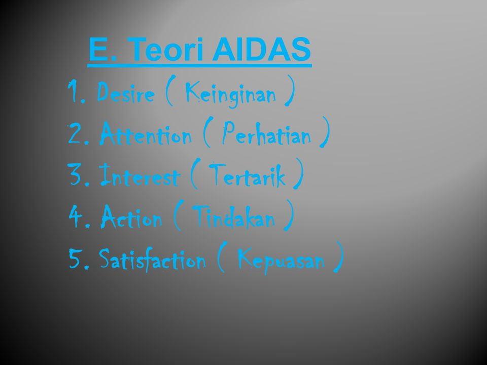 E. Teori AIDAS 1. Desire ( Keinginan ) 2. Attention ( Perhatian ) 3