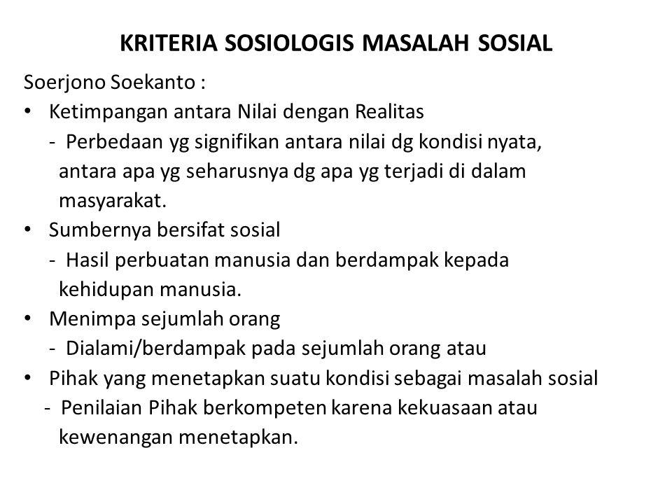 KRITERIA SOSIOLOGIS MASALAH SOSIAL