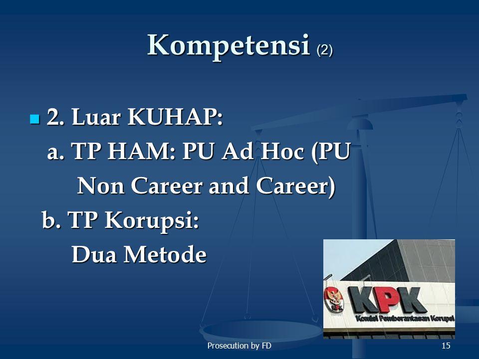 Kompetensi (2) 2. Luar KUHAP: a. TP HAM: PU Ad Hoc (PU