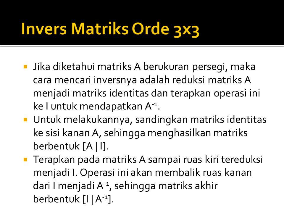 Invers Matriks Orde 3x3
