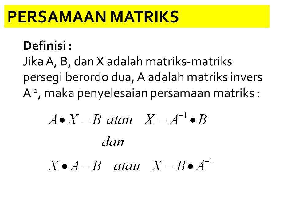 PERSAMAAN MATRIKS Definisi :