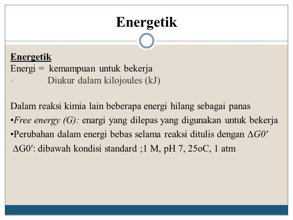 Energetik Energetik Energi = kemampuan untuk bekerja