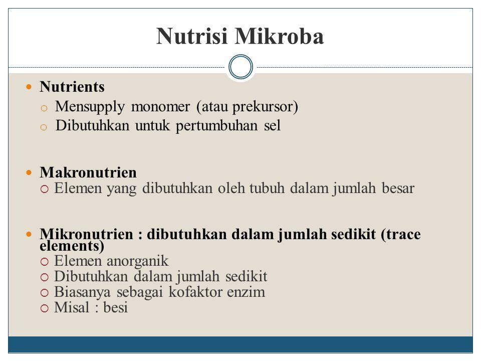 Nutrisi Mikroba Nutrients Mensupply monomer (atau prekursor)