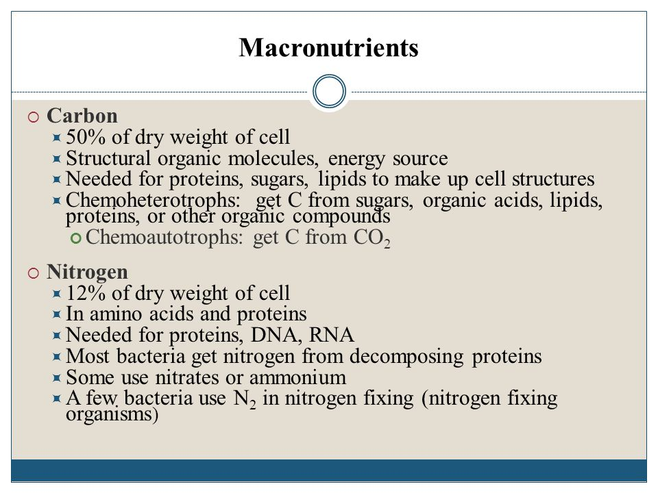 Macronutrients Carbon 50% of dry weight of cell