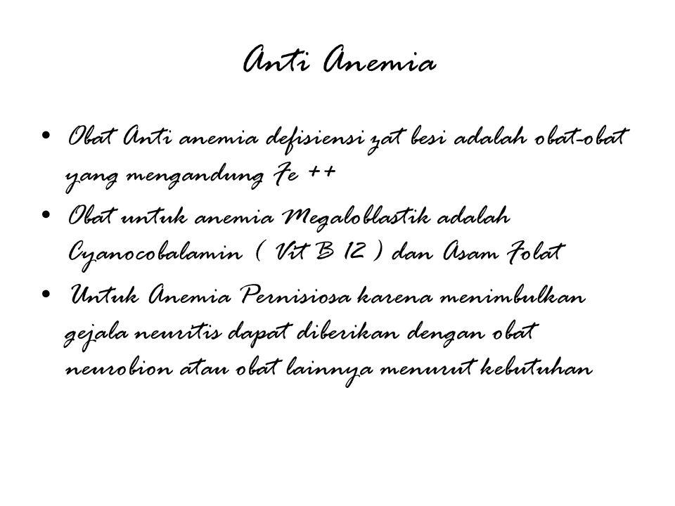 Anti Anemia Obat Anti anemia defisiensi zat besi adalah obat-obat yang mengandung Fe ++