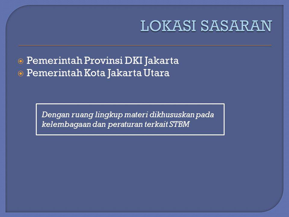 LOKASI SASARAN Pemerintah Provinsi DKI Jakarta