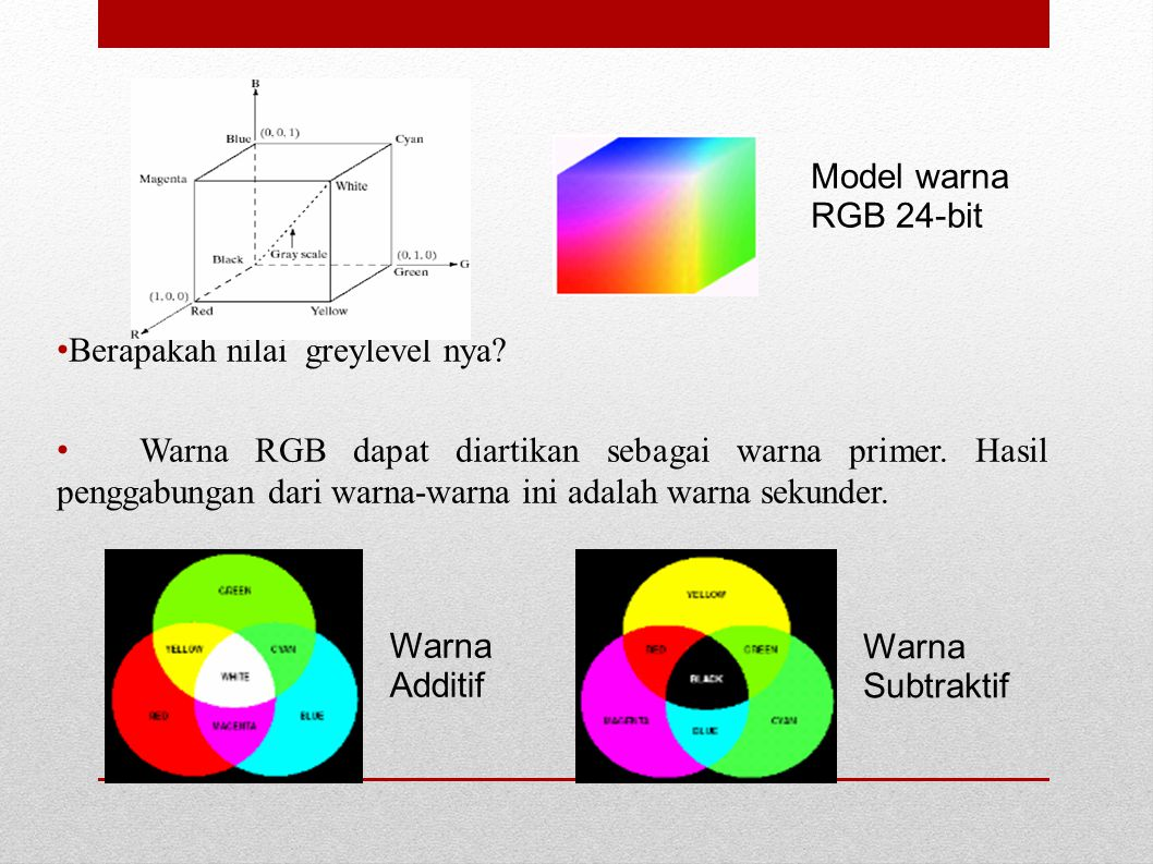 Model warna RGB 24-bit. Berapakah nilai greylevel nya