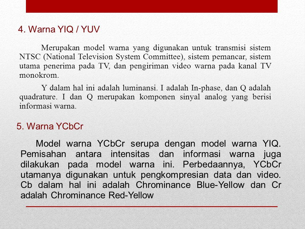 4. Warna YIQ / YUV 5. Warna YCbCr