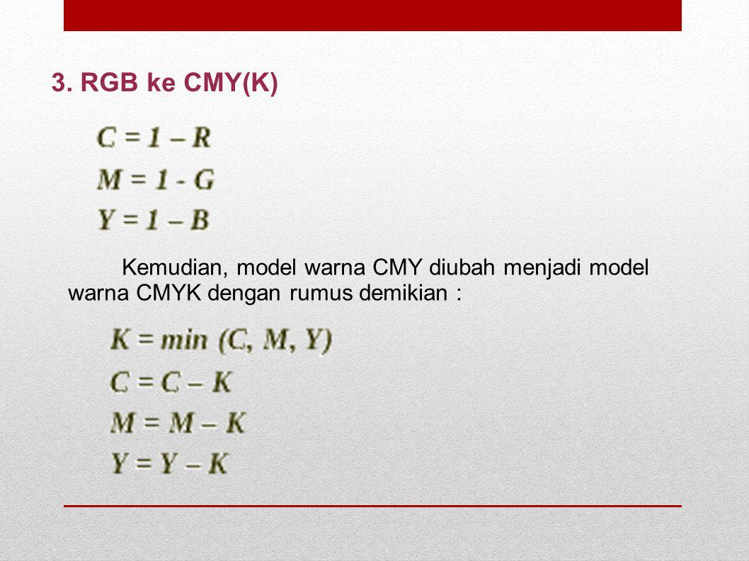 3. RGB ke CMY(K) Kemudian, model warna CMY diubah menjadi model warna CMYK dengan rumus demikian :