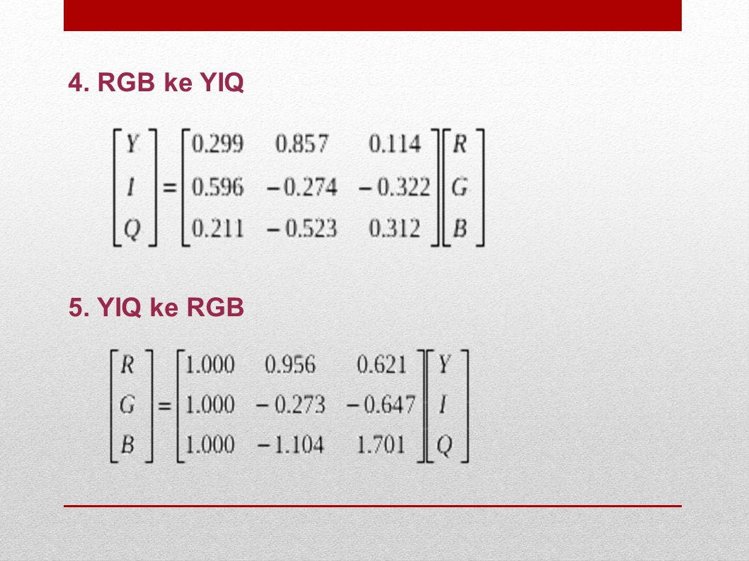 4. RGB ke YIQ 5. YIQ ke RGB