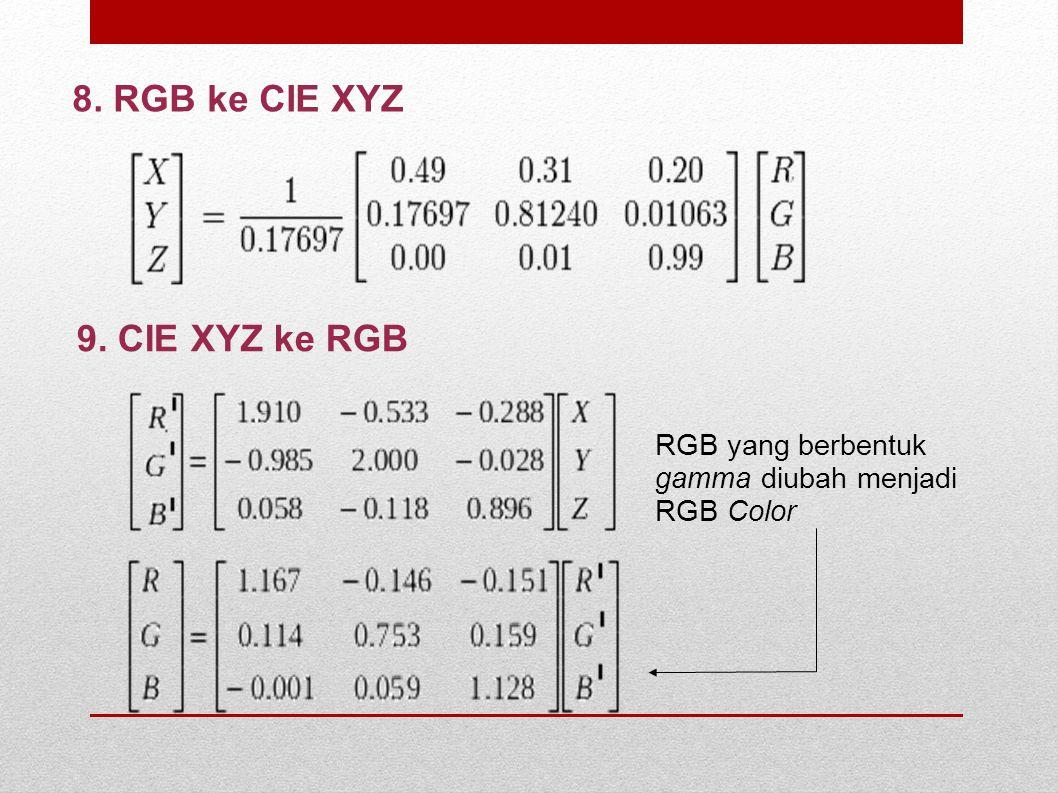 8. RGB ke CIE XYZ 9. CIE XYZ ke RGB RGB yang berbentuk