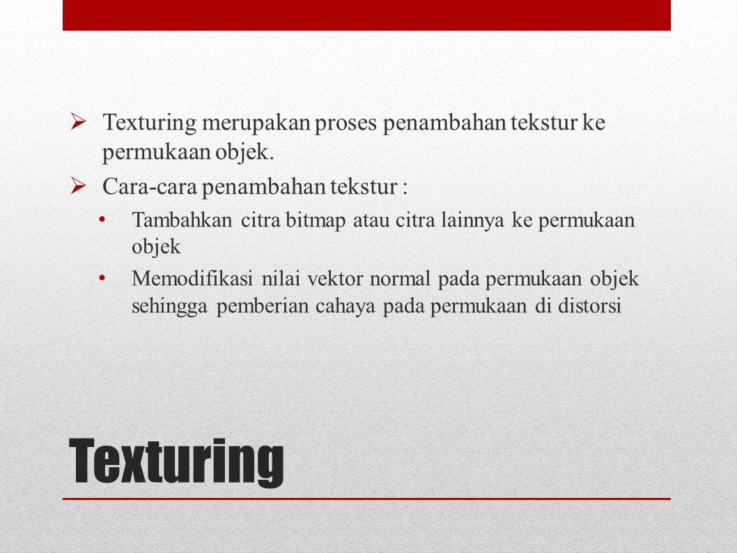 Texturing merupakan proses penambahan tekstur ke permukaan objek.