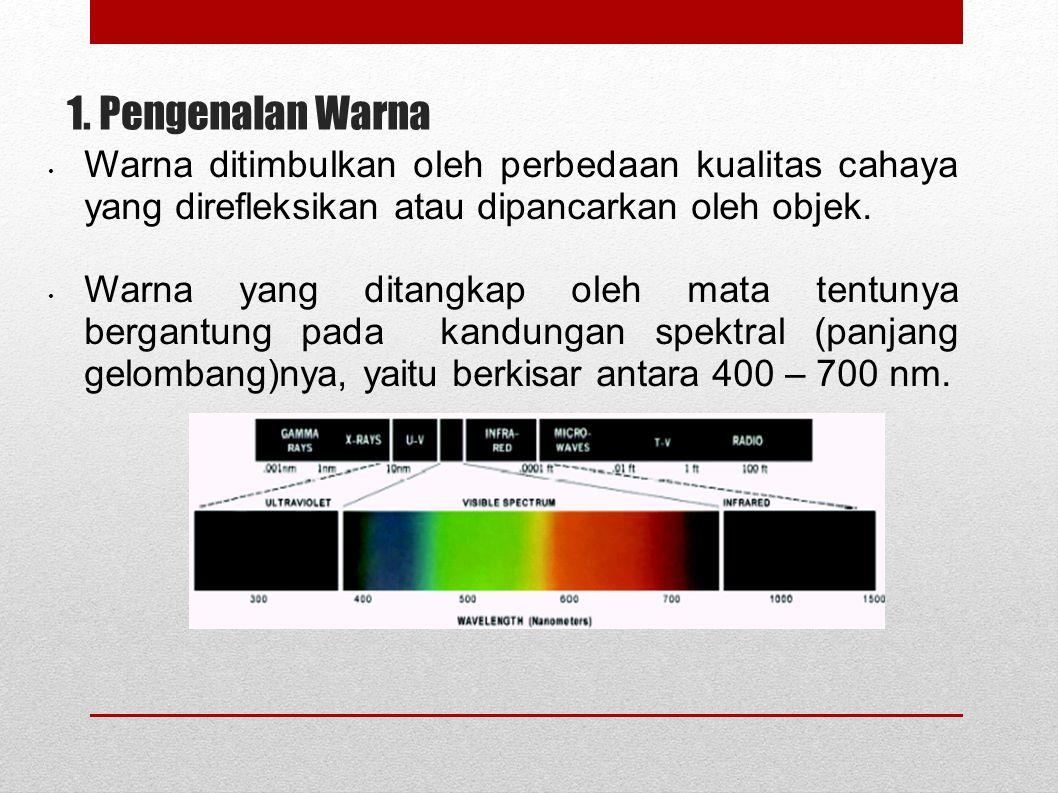 1. Pengenalan Warna Warna ditimbulkan oleh perbedaan kualitas cahaya yang direfleksikan atau dipancarkan oleh objek.
