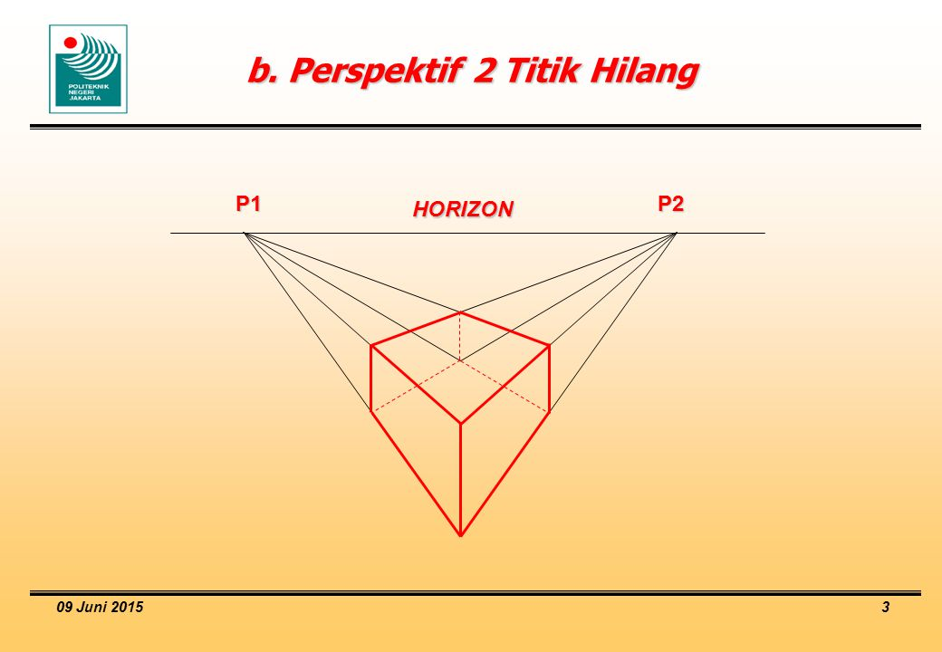 b. Perspektif 2 Titik Hilang