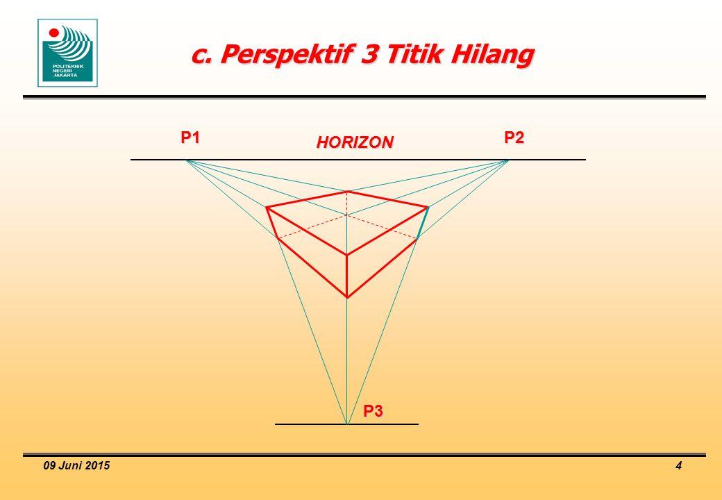 c. Perspektif 3 Titik Hilang