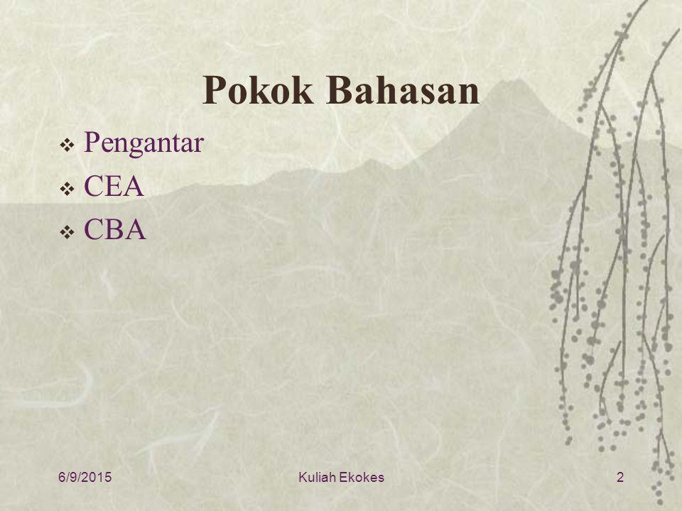 Pokok Bahasan Pengantar CEA CBA 4/16/2017 Kuliah Ekokes
