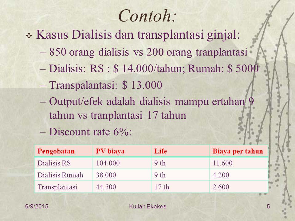 Contoh: Kasus Dialisis dan transplantasi ginjal: