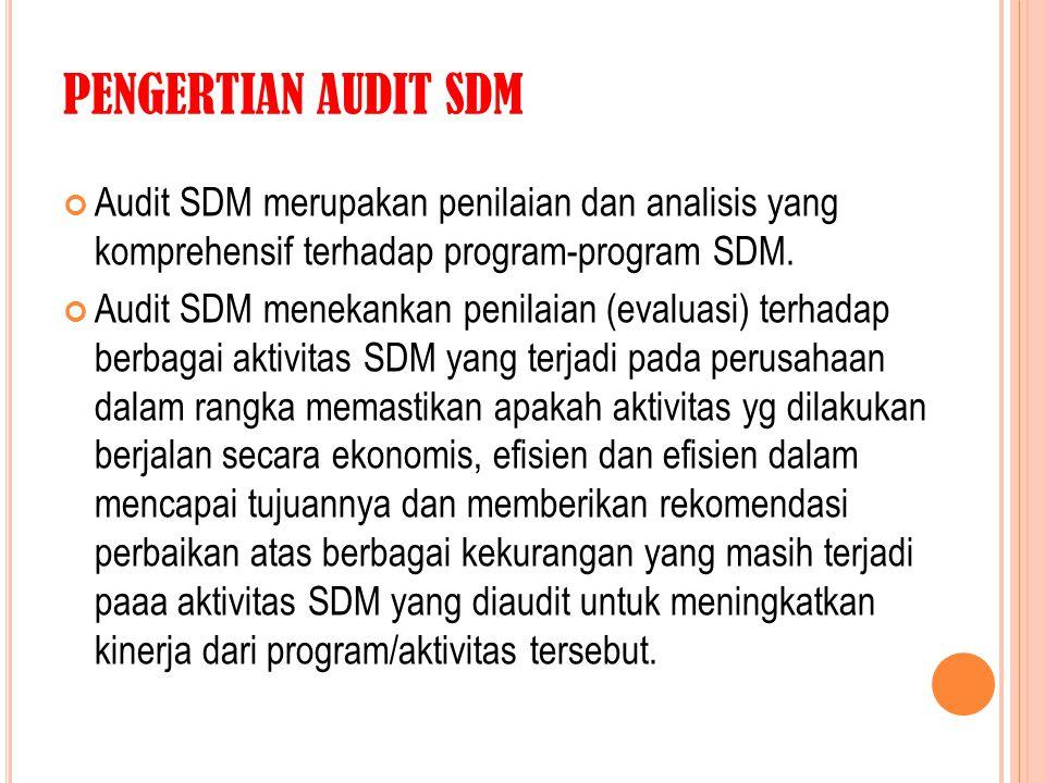 PENGERTIAN AUDIT SDM Audit SDM merupakan penilaian dan analisis yang komprehensif terhadap program-program SDM.
