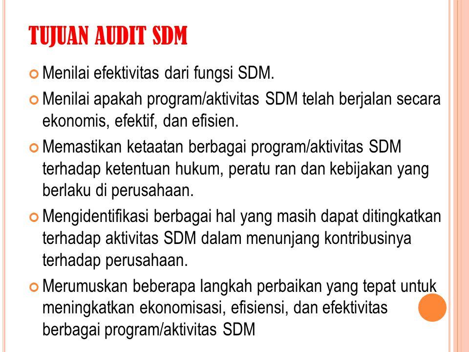 TUJUAN AUDIT SDM Menilai efektivitas dari fungsi SDM.