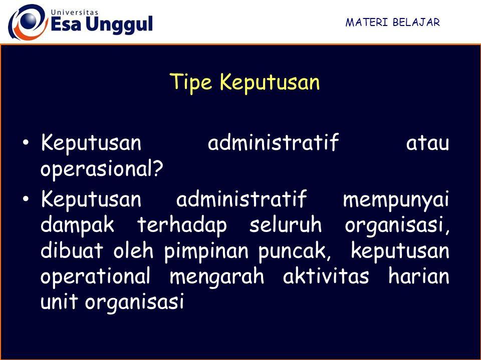 Keputusan administratif atau operasional