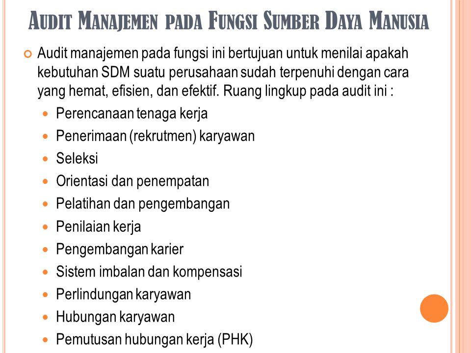 Audit Manajemen pada Fungsi Sumber Daya Manusia